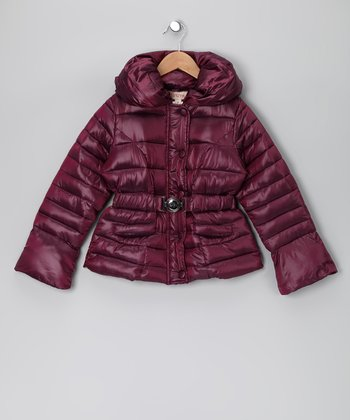 Plum Puffer Coat - Toddler & Girls