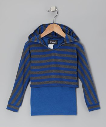 Charcoal & Royal Stripe Layered Hoodie - Toddler