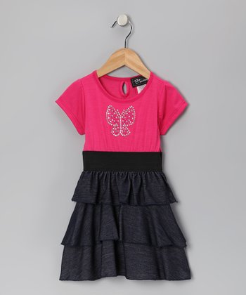 Fuchsia Butterfly Tiered Ruffle Dress - Toddler