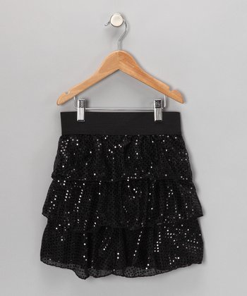 Black Sparkle Tiered Skirt - Girls