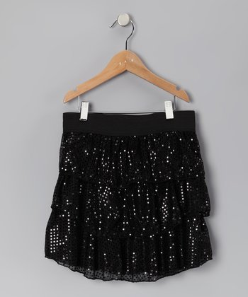 Black Disco Dot Tiered Ruffle Skirt - Girls