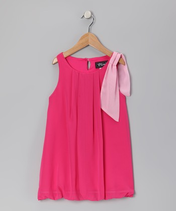 Fuchsia Bow Chiffon Bubble Dress - Girls