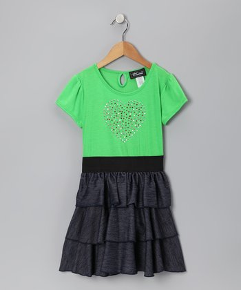 Lime Heart Tiered Ruffle Dress - Girls