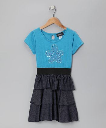 Turquoise Flower Tiered Ruffle Dress - Girls