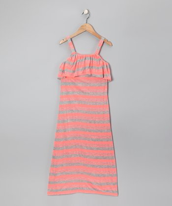 Coral & Gray Stripe Maxi Dress - Girls