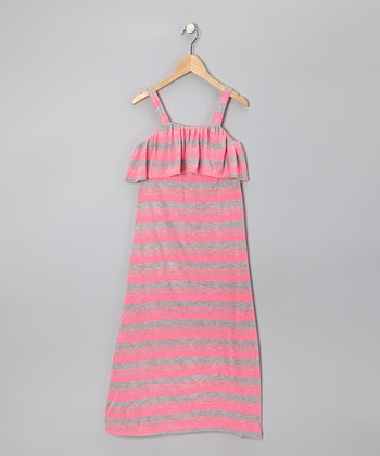 Pink & Gray Stripe Maxi Dress - Girls