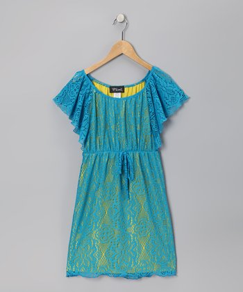 Turquoise & Yellow Flutter Sleeve Dress - Girls