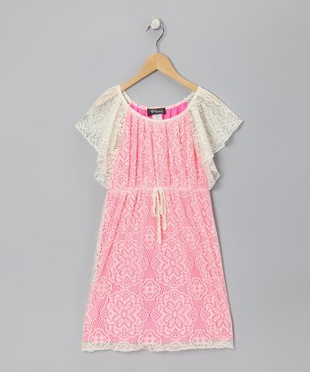 Ivory & Pink Flutter Sleeve Dress - Girls