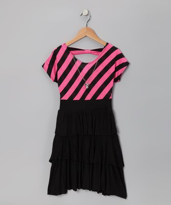 Black & Neon Pink Stripe Tiered Ruffle Dress - Girls