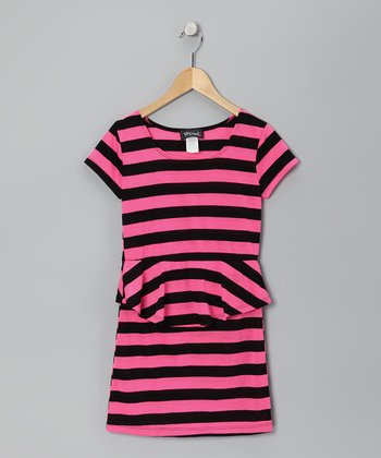 Black & Neon Pink Stripe Peplum Dress - Girls