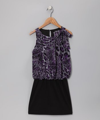 Purple & Gray Cheetah Chiffon Dress - Girls