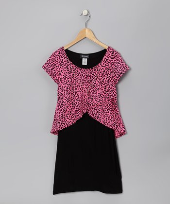 Pink & Black Cheetah Layered Dress - Girls