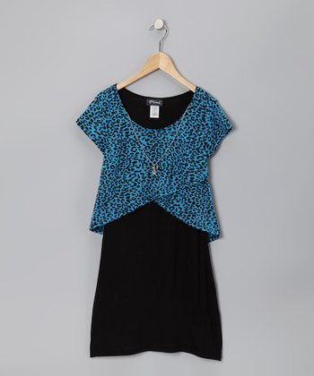Turquoise & Black Cheetah Layered Dress - Girls