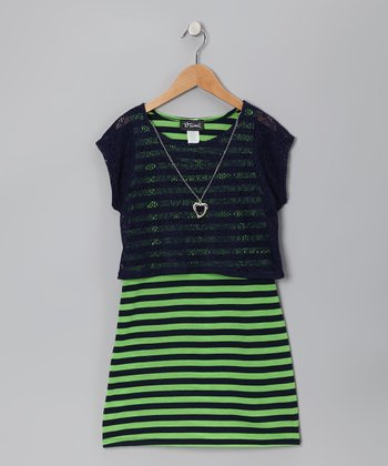 Navy & Lime Stripe Layered Dress - Girls