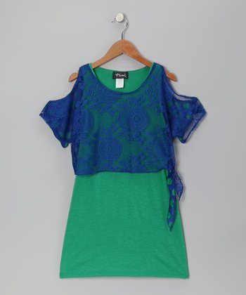 Green & Royal Cutout Layered Dress - Girls