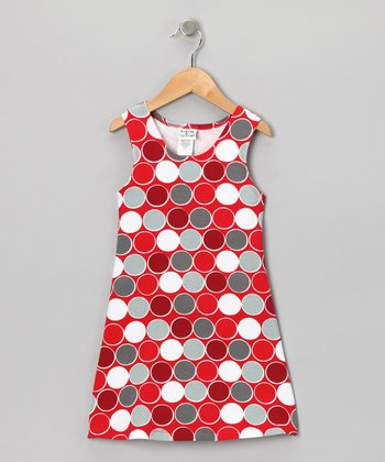 Red & Gray Classic Polka Dot Fit & Flare Dress - Toddler & Girls