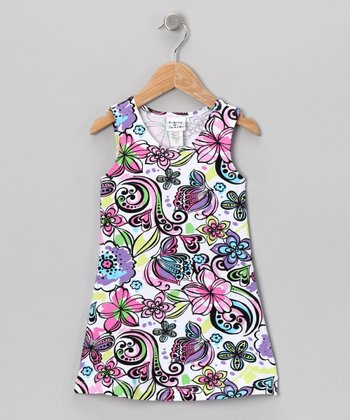 Purple Graffiti Floral Fit & Flare Dress - Toddler & Girls