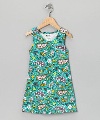 Teal Parisian Paisley Fit & Flare Dress - Infant, Toddler & Girls