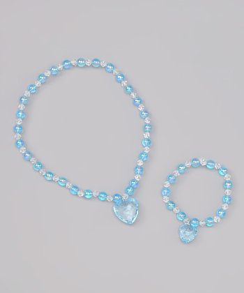 Blue Heart Stretch Necklace & Bracelet