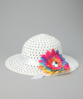 White & Pink Flower Sunhat