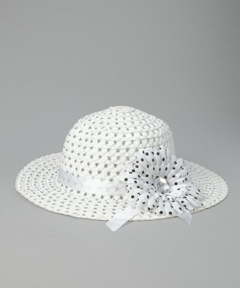 White Polka Dot Flower Sunhat