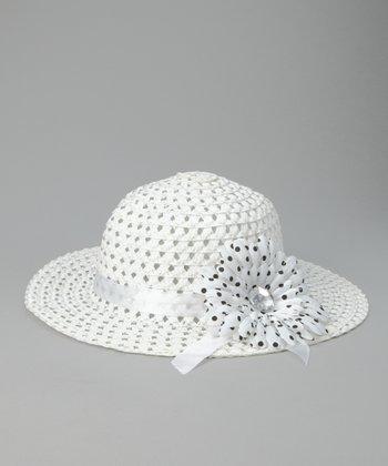 White Polka Dot Flower Sunhat