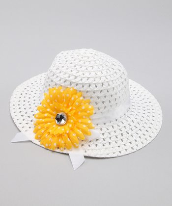 White & Yellow Flower Sunhat