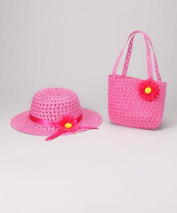 Hot Pink Daisy Sunhat & Tote