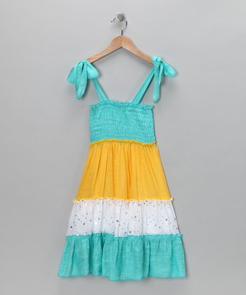 Turquoise & Yellow Sequin Smocked Dress - Toddler & Girls