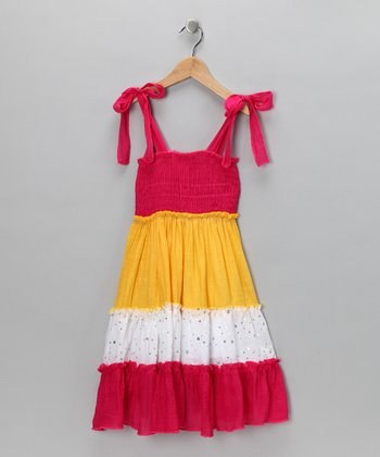 Fuchsia & Yellow Sequin Shirred Dress - Toddler
