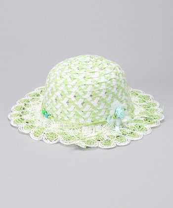 White & Lime Lacy Sunhat