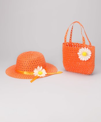 Orange Daisy Sunhat & Tote Bag