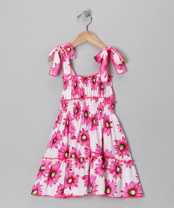 Hot Pink Floral Smocked Dress - Toddler & Girls