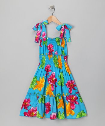 Blue Floral Smocked Dress - Toddler & Girls