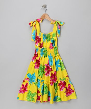 Yellow Floral Smocked Dress - Toddler & Girls