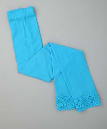 Sky Blue Lace Footless Tights - Girls