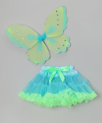 Blue & Green Pettiskirt & Wings - Toddler & Girls