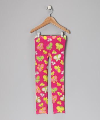 Bubblegum Diva Hot Pink Butterfly Leggings - Toddler & Girls