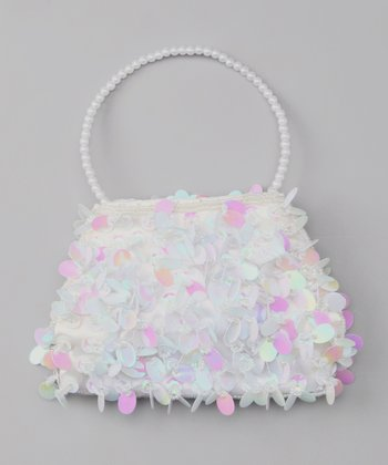 White Fancy Paillette Sequin Purse