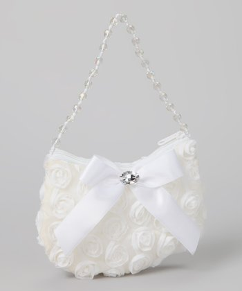 White Rosette Shoulder Bag