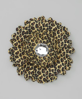 Brown Cheetah Jewel Flower Clip