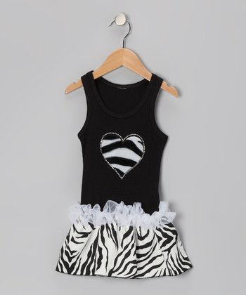 Black Zebra Stripe Heart Ruffle Dress - Toddler