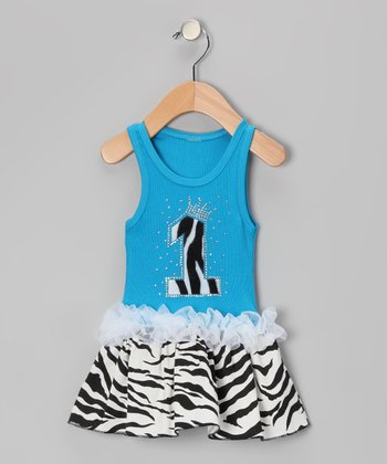Blue Zebra Stripe '1' Ruffle Dress - Infant