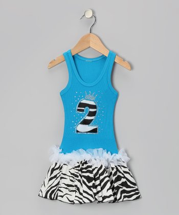 Blue Zebra Stripe '2' Ruffle Dress - Toddler