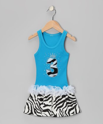 Blue Zebra Stripe '3' Ruffle Dress - Toddler