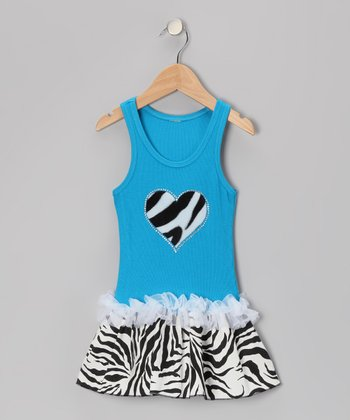 Blue Zebra Stripe Heart Ruffle Dress - Toddler & Girls