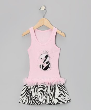 Pink Zebra Stripe '3' Ruffle Dress - Toddler