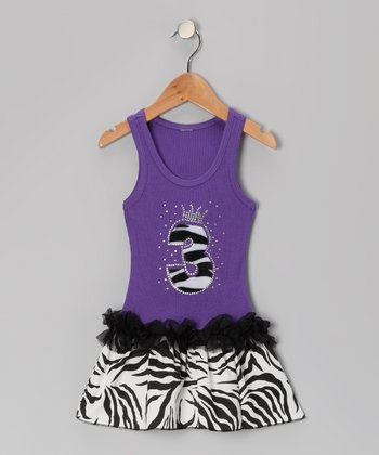 Purple Zebra Stripe '3' Ruffle Dress - Toddler