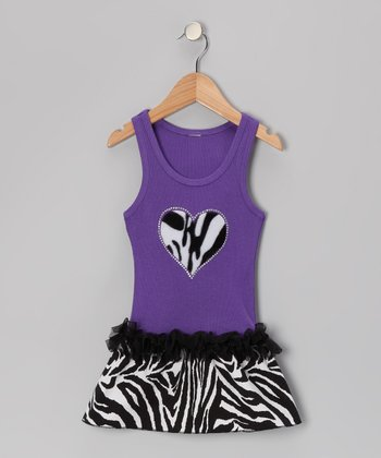Purple Zebra Heart Ruffle Dress - Toddler & Girls