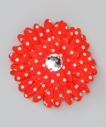 Red Polka Dot Rhinestone Flower Clip